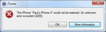 iOS5 Upgrade Error 3200